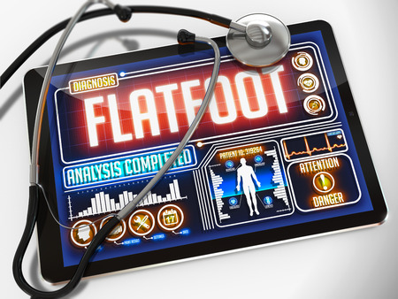 flatfoot: Flatfoot - Diagnosis on the Display of Medical Tablet and a Black Stethoscope on White Background.