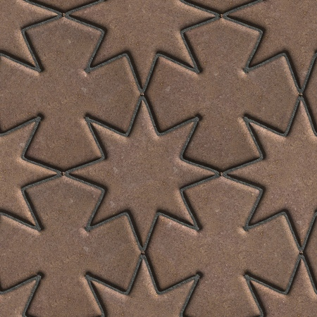 laid: Brown Paving Slabs Laid in the Form of Stars and Crosses. Seamless Tileable Texture. Stock Photo