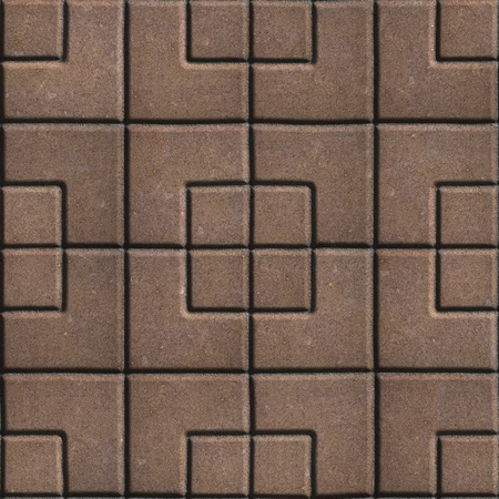 concrete form: Concrete Slabs Paving Brown in the Form Square of Different Geometric Shapes. Seamless Tileable Texture. Stock Photo