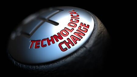 technological evolution: Technological Change - Red Text on Black Gear Shifter with Leather Cover. Close Up View. Selective Focus.