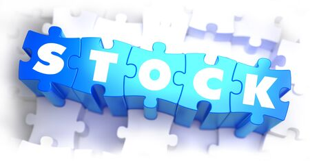 stock quotes: Stock - White Word on Blue Puzzles on White Background. 3D Render. Stock Photo