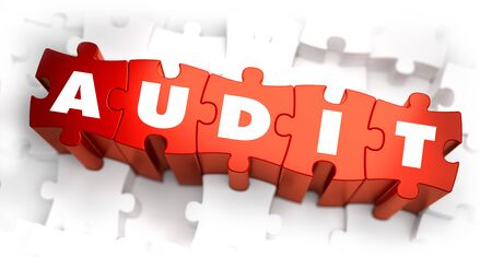 conformance: Audit - White Word on Red Puzzles on White Background. 3D Illustration.