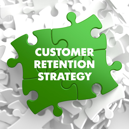retention: Customer Retention Strategy on Green Puzzle on White Background.