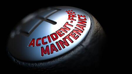 prophylactic: Accident-Free Maintenance. Gear Shift with Red Text on Black Background. Selective Focus. 3D Render.