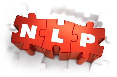 hypnotherapy: NLP - Neuro Linguistic Programming - White Word on Red Puzzles on White Background. 3D Render.