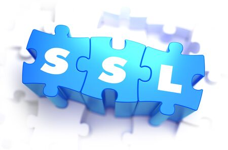 https: SSL - Secure Sockets Layer - Text on Blue Puzzles on White Background. 3D Render.