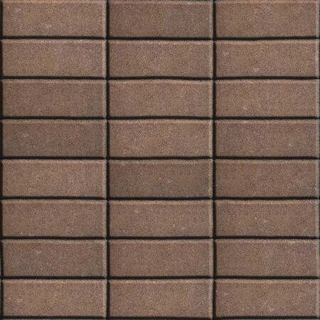 laid: Brown Paving Slabs Laid out Rectangles Horizontally. Seamless Tileable Texture. Stock Photo
