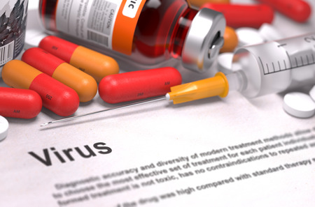 taint: Virus - Medical Concept with Blurred Text. On Background of Medicaments Composition - Red Pills, Injections and Syringe. Stock Photo