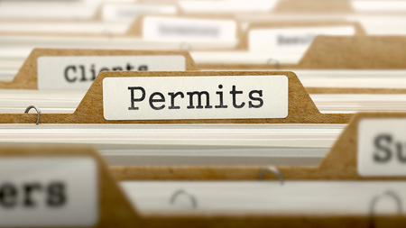 permits: Permits Concept. Word on Folder Register of Card Index. Selective Focus.