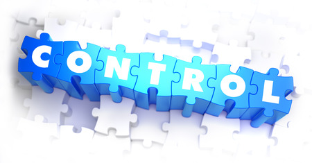 superintendence: Control - White Word on Blue Puzzles on White Background. 3D Render.