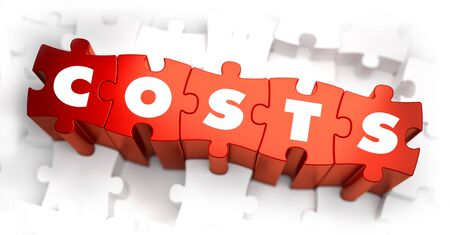 charges: Costs- White Word on Red Puzzles on White Background. 3D Illustration. Stock Photo