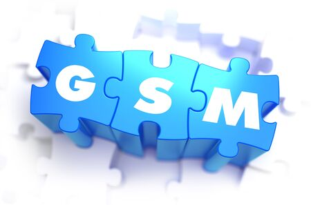 gsm: GSM - Global System for Mobile Communications - White Word on Blue Puzzles on White Background. 3D Illustration.