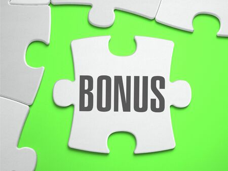 additional compensation: Bonus - Jigsaw Puzzle with Missing Pieces. Bright Green Background. Close-up. 3d Illustration.