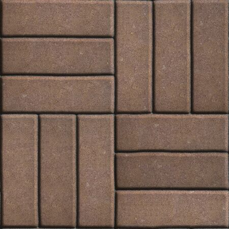 perpendicular: Brown Paving Slabs of Rectangles Laid Out on Three Pieces Perpendicular to Each Other. Seamless Tileable Texture.