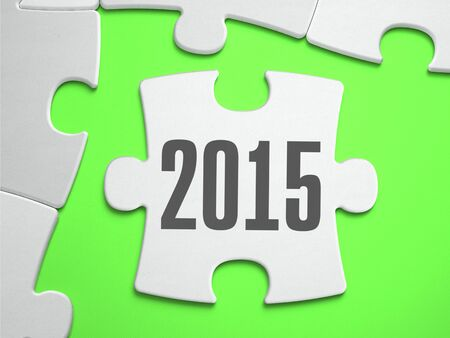 christmas budget: 2015 - Jigsaw Puzzle with Missing Pieces. Bright Green Background. Close-up. 3d Illustration. Stock Photo