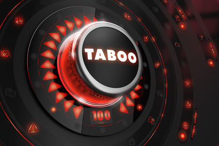 Taboo Controller on Black Control Console with Red Backlight. Danger or Risk Control Concept. photo