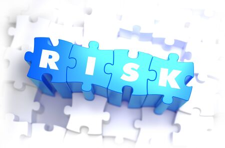 and is favorable: Risk - White Text on Blue Puzzles and Selective Focus. 3D Render.