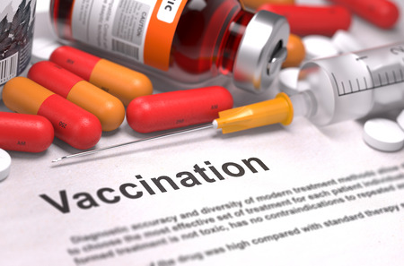 antigenic: Vaccination - Printed Diagnosis with Blurred Text. On Background of Medicaments Composition - Red Pills, Injections and Syringe. Stock Photo