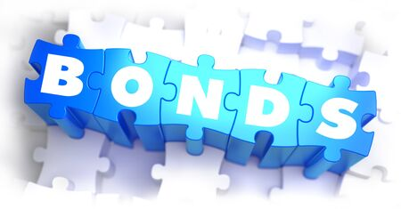 bonds: Bonds - White Word on Blue Puzzles on White Background. 3D Illustration.