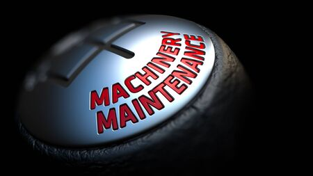 efficiently: Machinery Maintenance. Control Concept. Gear Lever on Black Background. Close Up View. Selective Focus. 3D Render.