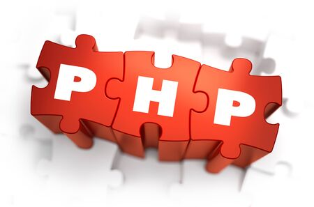 php: PHP - Hypertext Preprocessor - White Word on Red Puzzles on White Background. 3D Render.