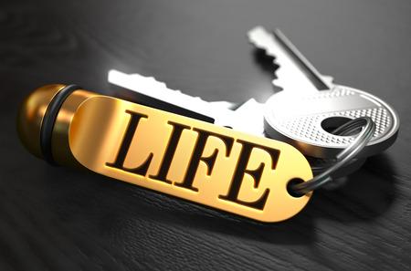 Keys und Golden Schlüsselanhänger mit dem Wort Leben über schwarz Holztisch mit Blur-Effekt.
