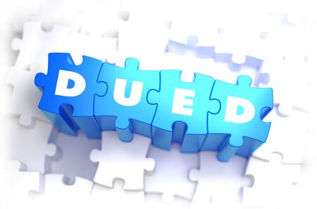 DueD - Due Diligence - White Word on Blue Puzzles on White Background. 3D Illustration.