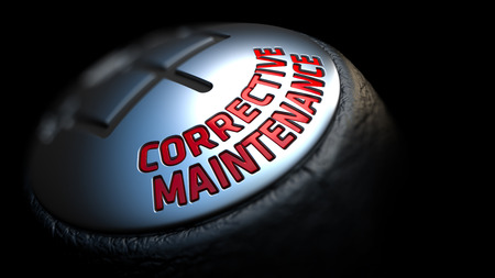 qualitatively: Corrective Maintenance. Shift Knob with Red Text on Black Background. Close Up View. Selective Focus. 3D Render.