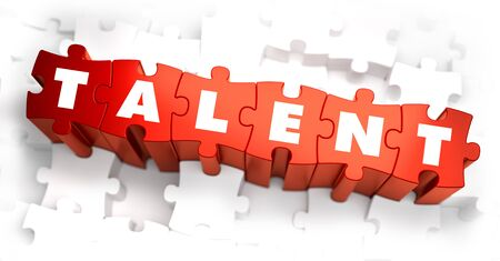 adept: Talent - Text on Red Puzzles with White Background. 3D Render.