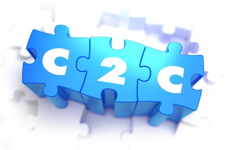b2e: C2C - Client to Consumer - White Word on Blue Puzzles on White Background. 3D Illustration.