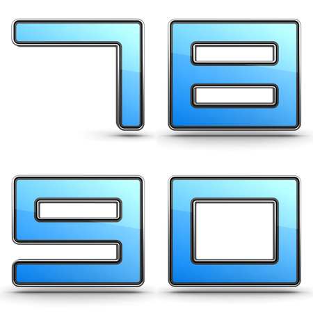 7 8: Digits 7,8,9,0 - Set of 3D Digits in Touchpad Style.