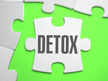 detoxing: Detox - Jigsaw Puzzle with Missing Pieces. Bright Green Background. Close-up. 3d Illustration.