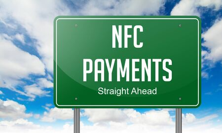 nfc: NFC Payments - Highway Signpost on Sky Background.