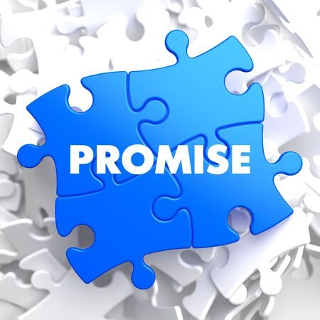 to reassure: Promise on Blue Puzzle on White Background. Stock Photo