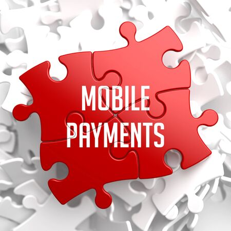 contactless: Mobile Payments on Red Puzzle on White Background.