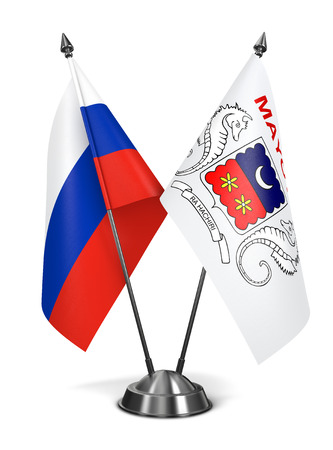 mayotte: Russia and Mayotte - Miniature Flags Isolated on White Background. Stock Photo