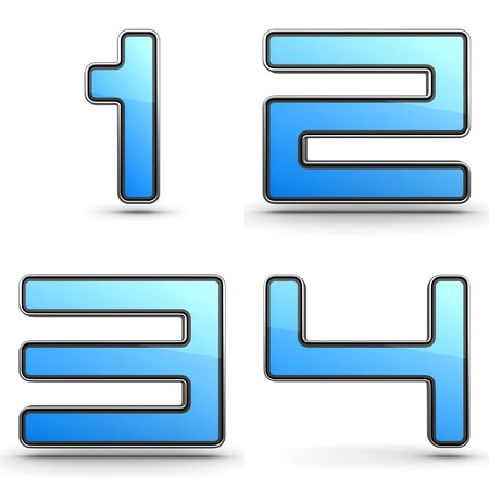 reckon: Digits 1,2,3,4 - Set of 3D Digits in Touchpad Style.