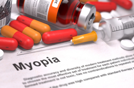 myopia: Diagnosis - Myopia. Medical Concept with Red Pills, Injections and Syringe. Selective Focus. 3D Render.