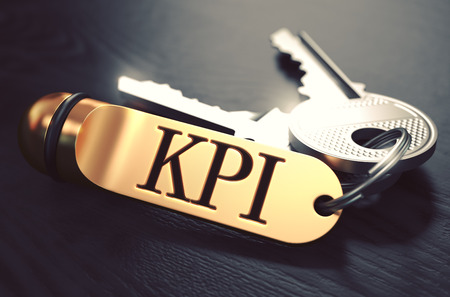 KPI -  Key Indicator Index - Bunch of Keys with Text on Golden Keychain. Black Wooden Background. Closeup View with Selective Focus. 3D Illustration. Toned Image. illustration