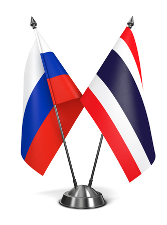 diplomatic: Russia and Thailand - Miniature Flags Isolated on White Background. Stock Photo