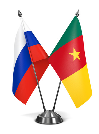 cameroonian: Russia and Cameroon - Miniature Flags Isolated on White Background. Stock Photo
