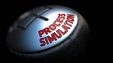elaboration: Process Simulation. Shift Knob with Red Text on Black Background. Close Up View. Selective Focus. 3D Render. Stock Photo