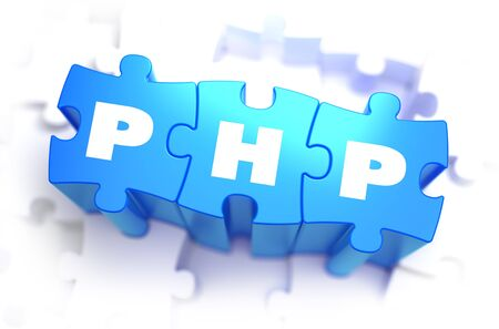 hypertext: PHP - Hypertext Preprocessor - Text on Blue Puzzles on White Background. 3D Render.