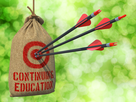 continuing education: Continuing Education- Three Arrows Hit in Red Target on a Hanging Sack on Natural Bokeh Background. Stock Photo
