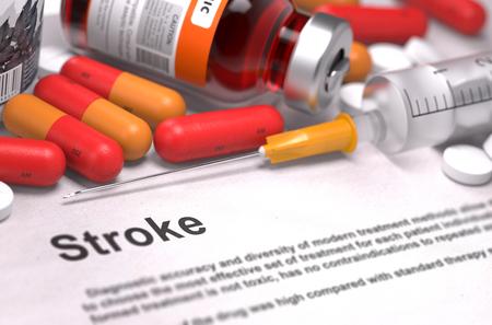 hemorragia: Stroke - Impreso Diagnóstico con las píldoras rojas, inyecciones y jeringas. Concepto médico con enfoque selectivo. Foto de archivo