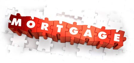 borrower: Mortgage - White Word on Red Puzzles on White Background. 3D Render. Stock Photo