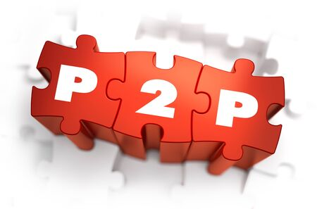 peering: P2P - Per 2 Peering - White Word on Red Puzzles on White Background. 3D Render. Stock Photo