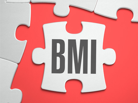 BMI: BMI - Body Mass Index - Text on Puzzle on the Place of Missing Pieces. Scarlett Background. Close-up. 3d Illustration.