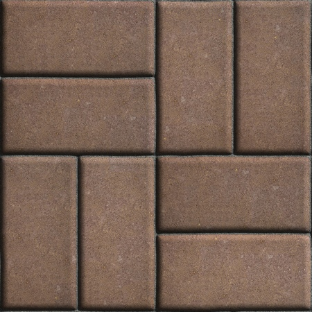 perpendicular: Brown Paving Slabs of Rectangles Laid Out on Two Pieces Perpendicular to Each Other. Seamless Tileable Texture.