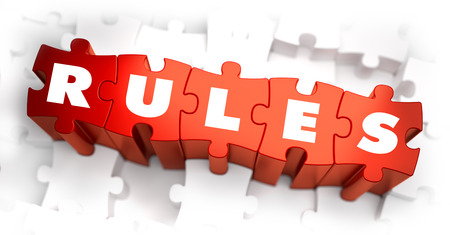 rigor: Rules - White Word on Red Puzzles on White Background. 3D Render.
